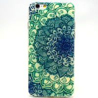 iPhone 6 Case, iPhone 6 (4.7 Inch) Case - LUOLNH Fashion Style Colorful Painted Green Flower TPU Case Back Cover Protector Skin For iPhone 6 4.7Inch(Green Flower)