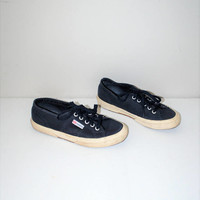 90s superga sneakers 1990s grunge navy blue canvas vegan joggers tie shoes size 7.5