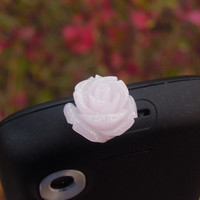 1PC Spakle Resin Pink Rose Flower Cell Phone Earphone Jack Antidust Plug Charm for iPhone 4s,4g,5c,5s,Samsung S3,S4, Nokia Best Friend Gift