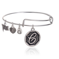 """Alex and Ani style  letter """"e"""" pattern pendant charm bracelet,a perfect gift !"""