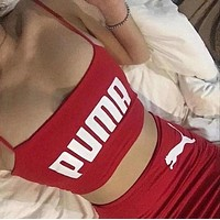 PUMA Trending Women Stylish Pure Red White Print Strapless Vest Skirt Two-Piece I13588-1