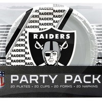 Oakland Raiders Party Pack 80 Piece
