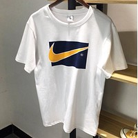 NIKE New fashion hook print couple top t-shirt White