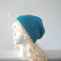 Turquoise Slouch Hat, Cable Design, Hand Knit Soft Wool, Slouchy Beanie, Women & Teen Girls, Biscay Bay 2015