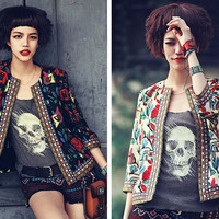 Vintage Floral with Tribal Accent Long Sleeve Cardigan