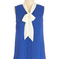 Myrtlewood Darling Mid-length Sleeveless Madison Aptitude Top in Blue