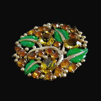 Large Floral Circle Brooch, With Amber And Yellow Rhinestone, And Green Enamel, In Gold Tone, Repainted Vintage