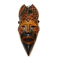 "1 Piece of 12"" African Wood Mask: Brown and Black"