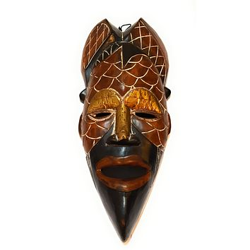 """🎁 ONE DAY SALE 12"""" African Wood Mask: Brown and Black"""