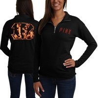 Victoria's Secret PINK Cincinnati Bengals Ladies Quarter-Zip Pullover Long Sleeve Top - Black