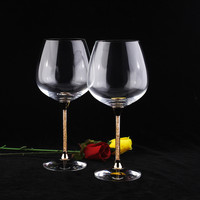 Good qualityclear rhinestones crystal wine glass set 2pcs with gold color stem crystal whiskey glasses wedding champagne glasses