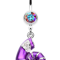 Vibrant Nautilus Seashell Belly Button Ring