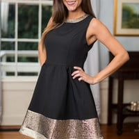 Cocktail Colors Dress, Black-Gold