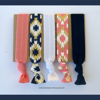 5 AZTEC HAIR TIES No Tug, No Dent,  Tribal Prints, Yoga, Southwest Coral and Navy, Stocking Stuffer Gift Sale
