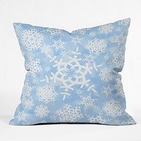 Lisa Argyropoulos Snow Flurries in Blue Outdoor Throw Pillow