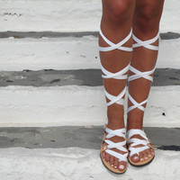 """Greek Lace up sandals, Customizable Choose scarf laces from 18 colors and leather footbed from 6 colors  """"ATHENA"""" ATHS14"""