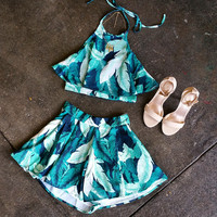 A Leafy Two Piece Halter Set