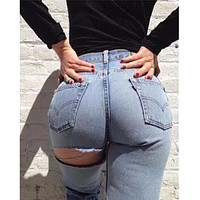 High Waisted Ripped Jeans