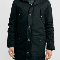 BLACK HEAVYWEIGHT HOODED PARKA - Topman