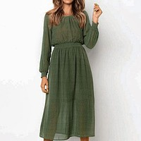 Elegant Party Green Long Dress Women Ruffles Polka Dot Vintage Ladies Dresses Chiffon Twist Dress Vestidos