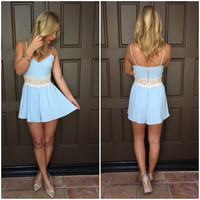 Acacia Crochet Romper - Powder Blue