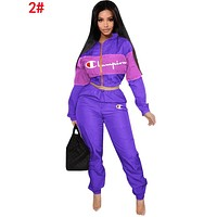 Champion Trending Women Casual Long Sleeve Top Sweater Pants Trousers Set Two-Piece 2#