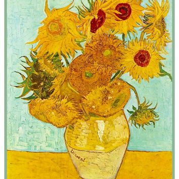 Vase of Sunflowers Teal Background by Vincent Van Gogh Counted Cross Stitch Pattern