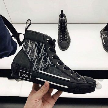 Dior CD mesh lace-up sneakers low-top flat sports hip-hop sneakers letter high-top shoes men and women casual shoes 2