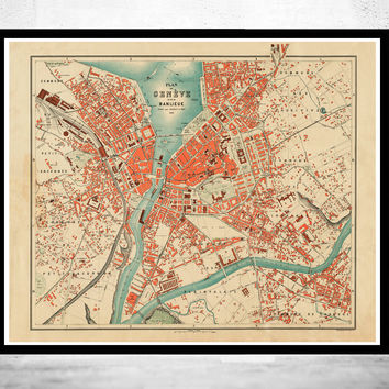 Old Map of Geneve Geneva Switzerland 1908
