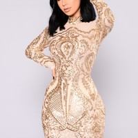 Calcy Sequin Mesh Dress - Gold