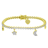 Ladies Bracelet 925 Sterling Silver Yellow Gold Finish
