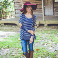 Striped Elbow Pad Top in Navy