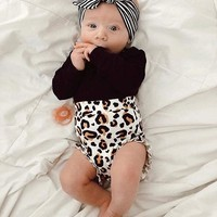 Newborn Baby Girls Leopard print Clothes Top Romper Short Pants Summer Outfit US