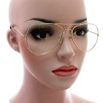 Large Classic Retro Aviator Clear Lens Gold Metal Frame Eyeglasses Glasses