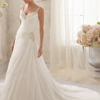 Blu by Mori Lee 5213 Beaded Chiffon Wedding Dress