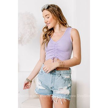 Cinched Lace Detailed Crop Top | Lavender