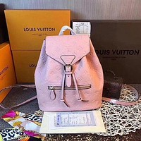 LV Louis Vuitton Women Leather Backpack Casual Daypack Travel Bag