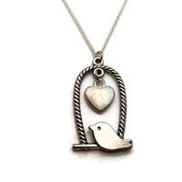 Bird Necklace Bird On Swing  Heart Necklace Bird Jewelry Heart Jewelry Initial Necklace Bridesmaids Necklace Spring  Necklace