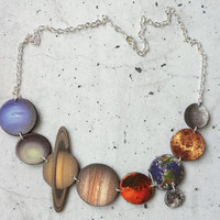 Solar System Necklace, Planets Necklace, Science Jewellery, Space Necklace, Space Jewellery, Planet Jewellery, Geeky Necklace Shrink Plastic