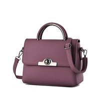 Mini Purple Leather Crossbody Shoulder Handbag