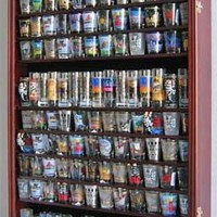 Large 144 Shot Glass Shooter Display Case Holder Wall Cabinet , UV Protection - MAHOGANY Finish