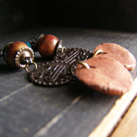 Rustic Boho Mixed Media Dangle Earrings, Blue and Brown drop Earthy Egyptian Coin Beaded Earrings, Clay Wood Brass Indie Natural Jewelry