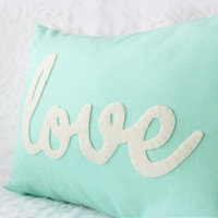Light Teal Love Pillow