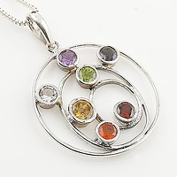Chakra Circle of Ovals Sterling Silver Pendant