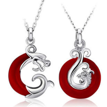 Gullei Trustmart : Dragon and Phoenix sterling silver love couple necklace set [GTMCN008] - $68.00-Couple Gifts, Cool USB Drives, Stylish iPad/iPod/iPhone Cases & Home Decor Ideas