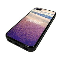 For Apple Iphone 5 or 5s Cute Phone Cases for Girls Beach Wanderlust Quote Design Cover Skin Black Rubber Silicone Teen Gift Vintage Hipster Fashion Design Art Print Cell Phone Accessories