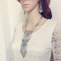 Miraculous Garden Womens Vintage Silver Long Ethnic Tribal Boho Bohemian Beads Coin Fringe Tassel Necklace