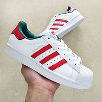 ADIDAS Shell-Toe Classic Women Men Casual Couple Sport Flat Shoes Sneakers White&Red&Green