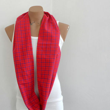Plaid Infinity Scarf, Loop Scarf, Circle Scarf, Red Scarf, Fall Autumn Winter Accessories