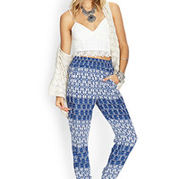 FOREVER 21 Abstract Stripe Joggers Cream/Blue
